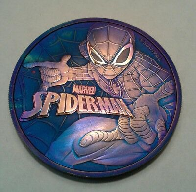 2017 Tuvalu marvel spiderman 1oz silver coin , awesome toned. Toned 🤘