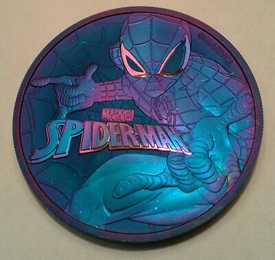 2017 Tuvalu marvel spiderman 1oz silver coin , awesome toning, toned**.