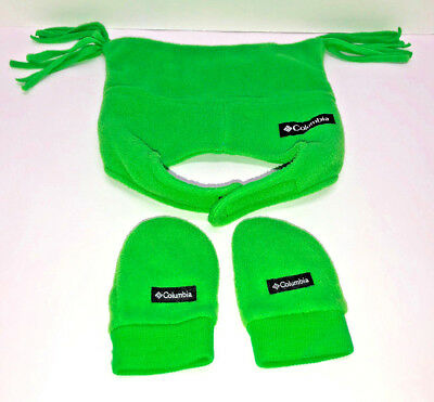 COLUMBIA Hat and Matching Mittens INFANT~ONE SIZE~ LIME GREEN