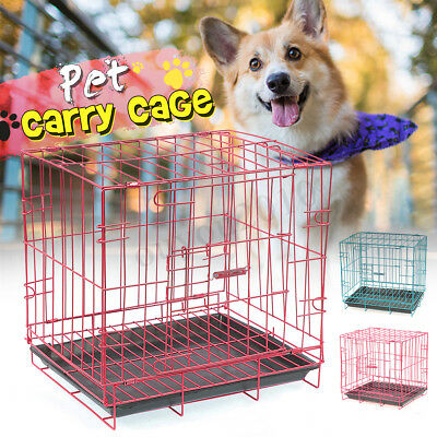14'' Foldable Dog Cage Puppy Crate Pet Cat Kennel House Metal Cages Crates