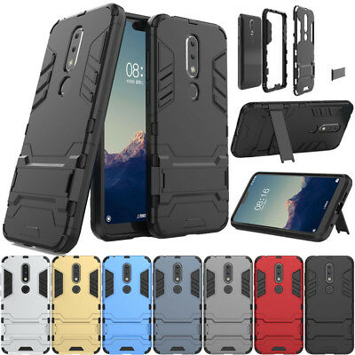 For Nokia 2.1/X6/6.1 Plus 2018 Shockproof Armor Stand Rugged Rubber Case Cover