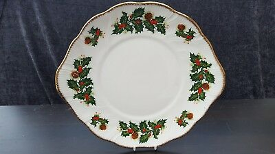 Queens  Yuletide CHRISTMAS, HOLY DESIGN    BREAD & BUTTER / CAKE PLATE
