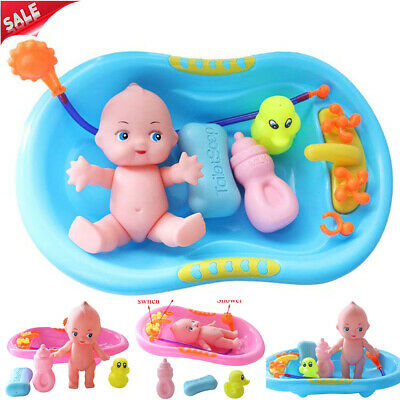 UK Baby Doll in Bath Tub w/ Shower Floating BathTime Kids Pretend Role Play Toys