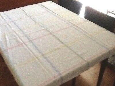 Vintage Rectangular Table Cloth Damask Cotton White & Coloured Stripe Check