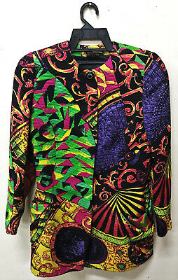 b67ee84cd8c7 Vintage Gianni Versace Couture Baroque Pop Art Vogue Print Made In Italy  Jacket