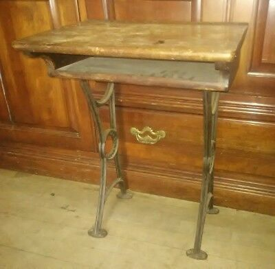 "Antique Child's School Desk kindergarten Wood cast iron 18"" x 12"" x 23"""