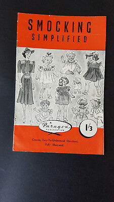 Vintage Paragon Smocking Simplified Booklet Approx 1950's