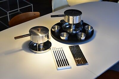 Top großes Stelton Fondue Set Arne Jacobsen Cylinda line Made in Denmark
