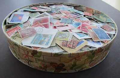 Switzerland - Old Biscuit Tin Full Of Early/mid Period On/off Paper Stamps