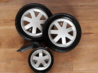 Quinny Buzz 3 Full Set Of Spare / Replacement Silver Wheels- Two Rear One Front