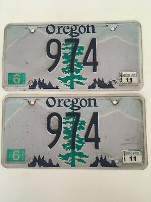 1990's 2000's Oregon License Plate PAIR Plates Tree LOW NUMBER 3 DIGIT RARE