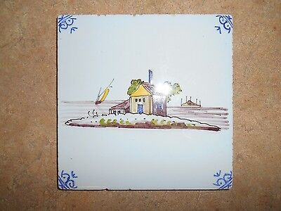 Old Dutch Holland Hand Painted Tile of an Island House and Boat