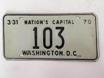 1970 District of Columbia License Plate Low Number 3 Digit #103 GLOSSY NICE!!