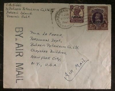 1941 Bahrain Petroleum Co Airmail Commercial Cover To New York USA