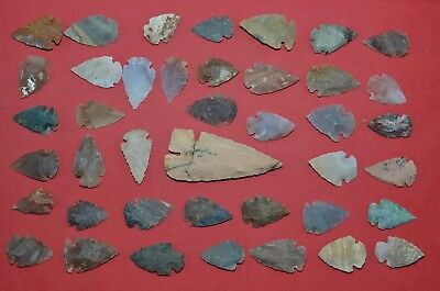 "41 PC Flint Arrowhead Ohio Collection Points 1-3"" Spear Bow Stone Hunting Blade"