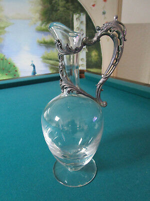 Cristallerie de Lorraine Claret Jug with ornate silver-plate repousse of LEAVES