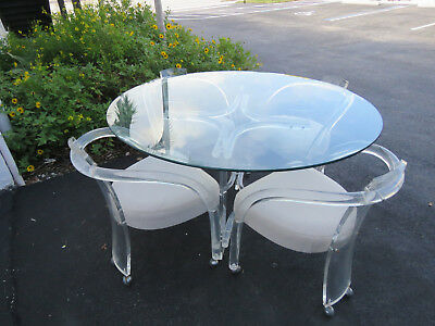 Mid Century Lucite Acrylic Round Glass Top Dining Table with Four Chairs 9189