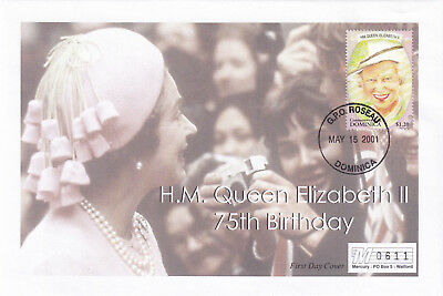 (21882) Dominica Mercury Cover Queen 75th Birthday 15 May 2001