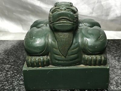 Oriental Green Resin Temple Foo Dog Chinese Seal Ming Style Ornament Sculpture