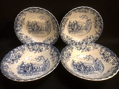 Johnson Bros Coaching Scenes Set Of 4 Cereal Soup Bowls England *VGC*