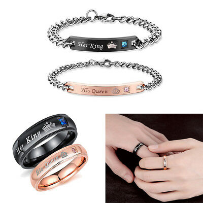 Her King His Queen Couple Lover Bracelets With Rhinestone Crown Charm Bracelet