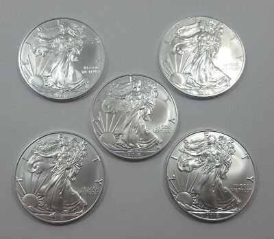 Lot of (5) 2018 US Silver American Eagles Uncirculated .999 Silver Bullion Coins
