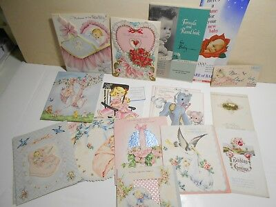 Vintage Lot 19 Birthday Cards 1953, Announcement Baby Name, Booklet,Scrapbooking