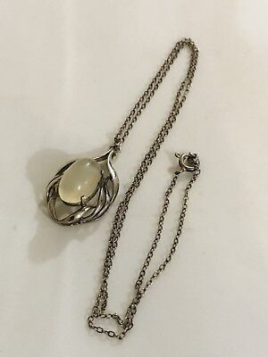 Fine Sterling Silver And Moonstone Necklace
