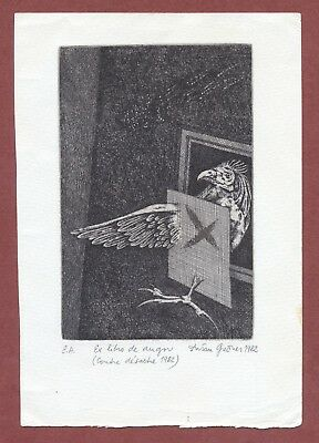 Dusan Grecner,  Slovakian,  Etched bookplate  Cockerel  trapped  1982     JX1001