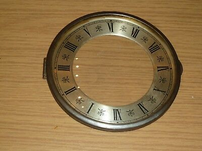 """Hinged glazed pin on clock bezel with chapter ring c1930 6"""" across"""