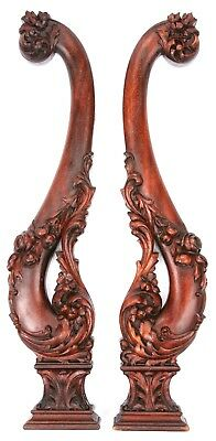 Antique Vintage Pair Hand Carved Wooden Corbel Bracket Floral Flowers Wood Old