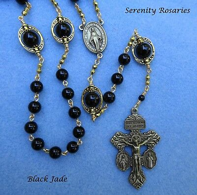 Elegant Rosary Handcrafted in Black Jade with Pardon Crucifix – brass finish