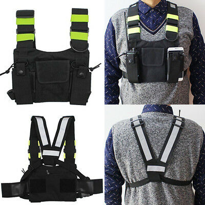 Universal Radio Chest Harness Pocket Pack Holster Vest Pouch Rig Bag