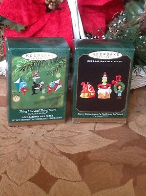 Hallmark Miniature Ornaments ~ Merry Grinch-mas ~ Thing One and Thing Two
