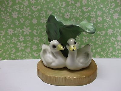 Vtg.lefton Miniature Ceramic Ducklings On Pond Figurine~Easter,spring Gift~
