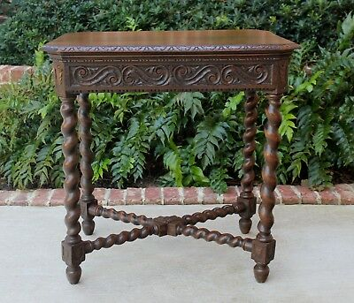 Antique French Oak Renaissance Revival Barley Twist Entry Hall Sofa End Table