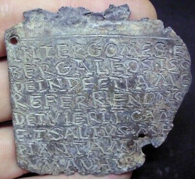 Ancient Roman Mystery Lead Curse Tablet With Inscription - Extremely Rare 100 Ad