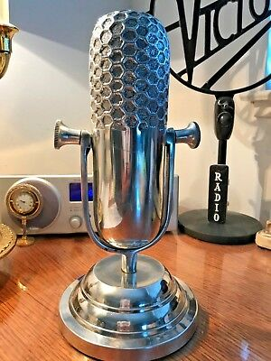 """Vintage RCA 77 Style Decor Microphone - Heavy Chrome -12"""" w/ stand"""