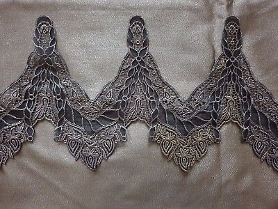 """French Gorgeous VINTAGE BLACK & GOLD GUIPURE LACE 26"""" by 6 1/2"""""""