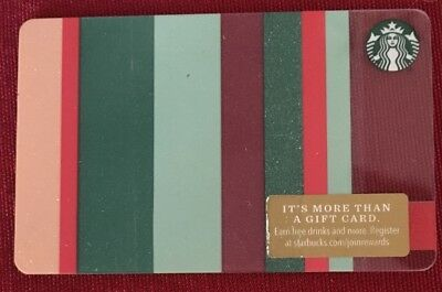 """#6157 2018 Starbucks Christmas """"Stripes"""" Gift Card """"Gift Wrapping"""" New Mint"""