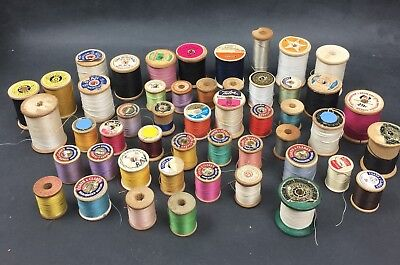 Lot Sewing Thread Mostly Wood Coats & Clark, Belding, Geneva Lot of 49