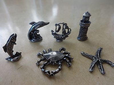 Lead Free Mini Pewter Crab Ship Fish Starfish Dolphin Lighthouse Figurine or Set
