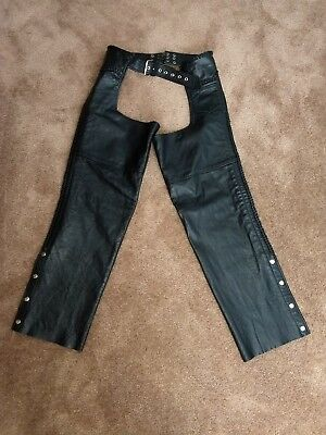 BLACK LEATHER MOTORCYCLE CHAPS FMC Pre-owned sz. L men's women s Nice