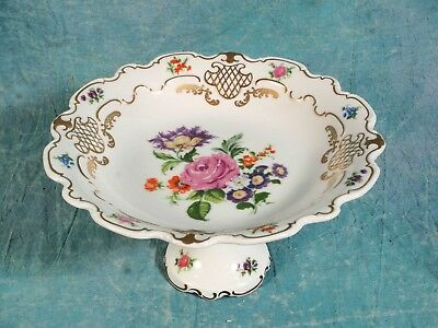 WALLENDORF 1764 Cake Stand Taza Plate Flowers Gold Gilt Vintage RARE