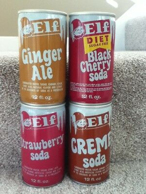 ELF (4 different flavors) Soda. Crimped steel. No bar code or ml listed.