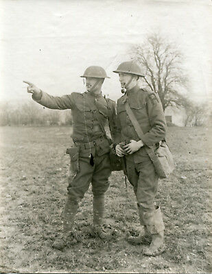 Original Photo: Two Armed First Army Soldiers in Field Gear
