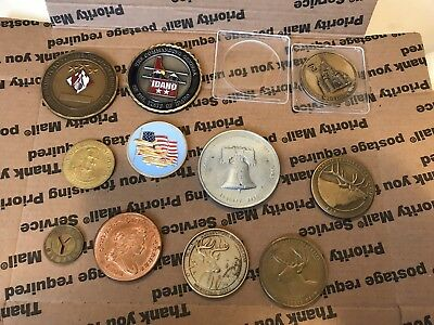 VINTAGE WALT DISNEY WORLD COIN 1970'S MEDAL SOLID BRONZE W/CASE With Othe Coins