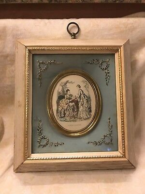 Beautiful Vintage Godey Victorian Women Picture/Print Shadow Box