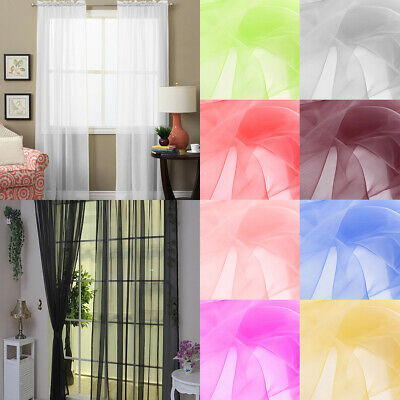 1 Pair Voile Net Curtains Plain Panels Pelmets Slot Top Rod Pocket Lined