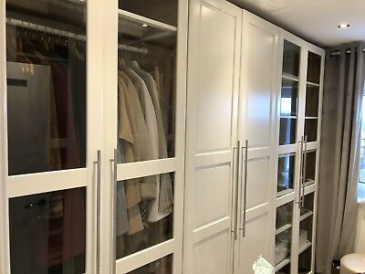 IKEA PAX WARDROBE DOORS ONLY Tyssedal 229x50cm white/glass